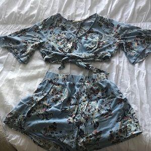 2 piece floral shorts set